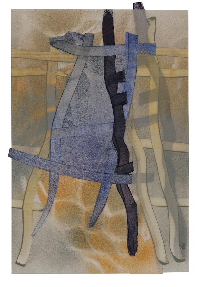 "Off Balance , 2019, acrylic paint on Mylar, 18X24"""