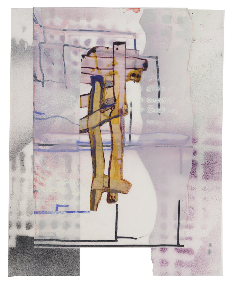 "Balancing , 2019 acrylic paint on Mylar, 16X20"""