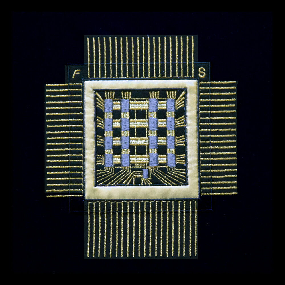"SAM multichip 1968 , metallic and embroidery thread on polycotton, 12 x 12"", 2019"