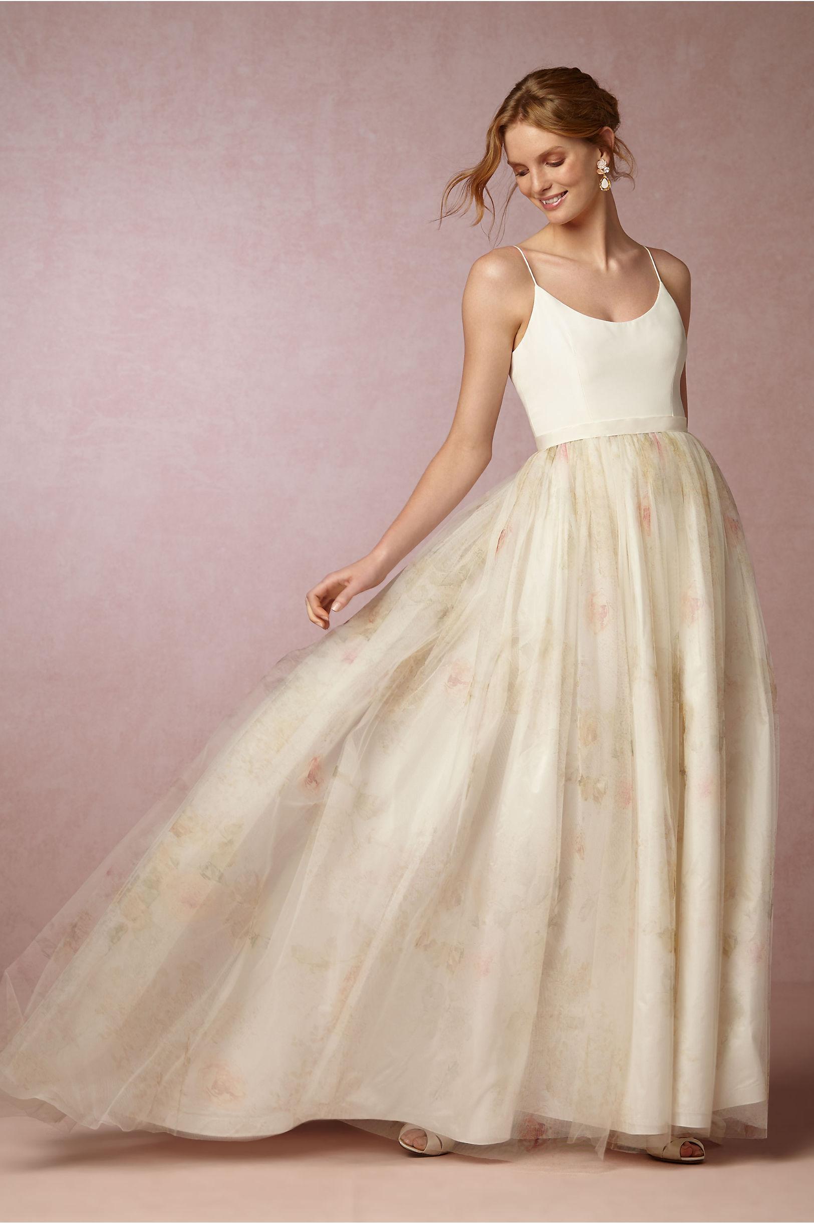 bhldn floral wedding dress for pensacola bride