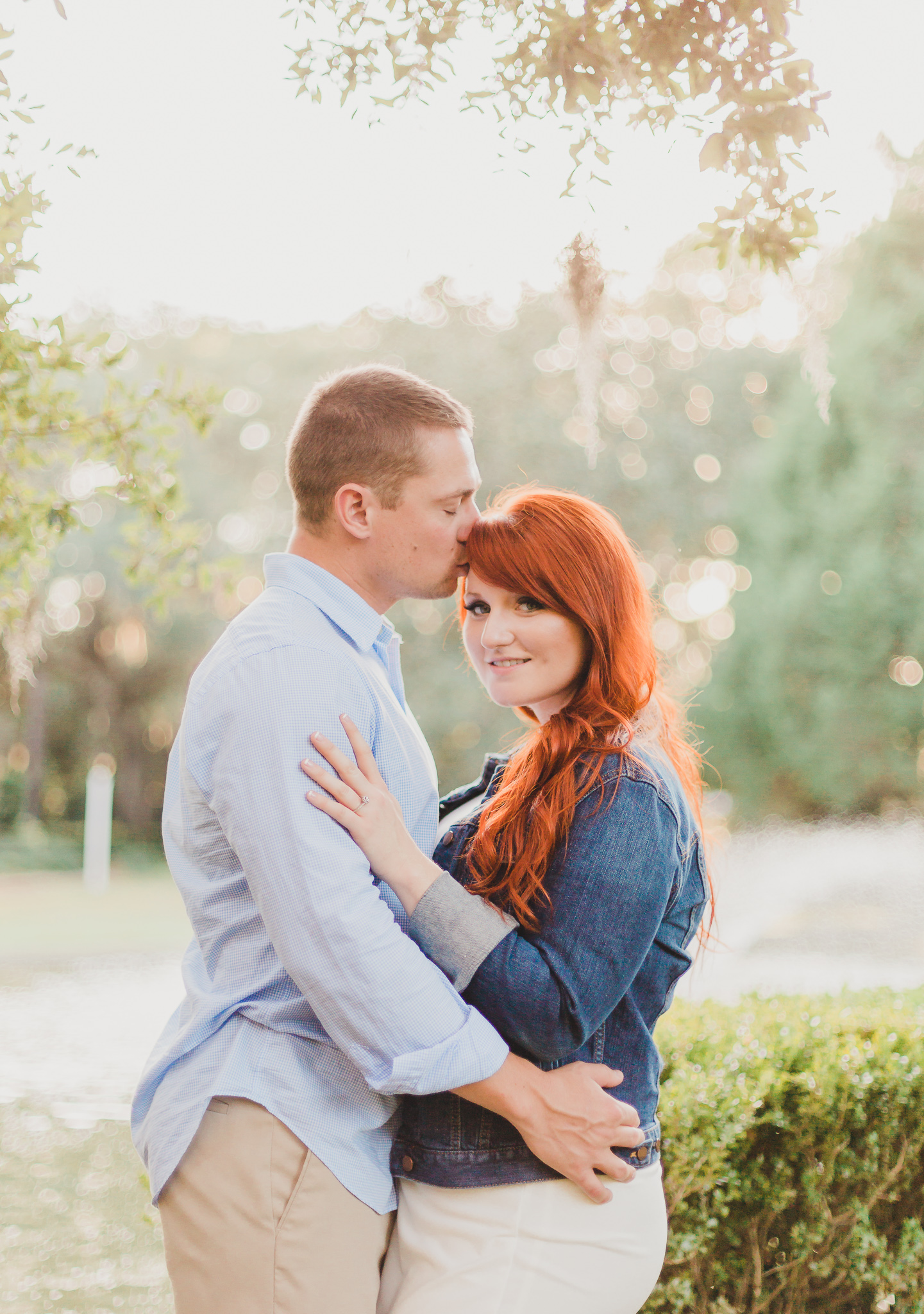 engaged couple in eden gardens state park