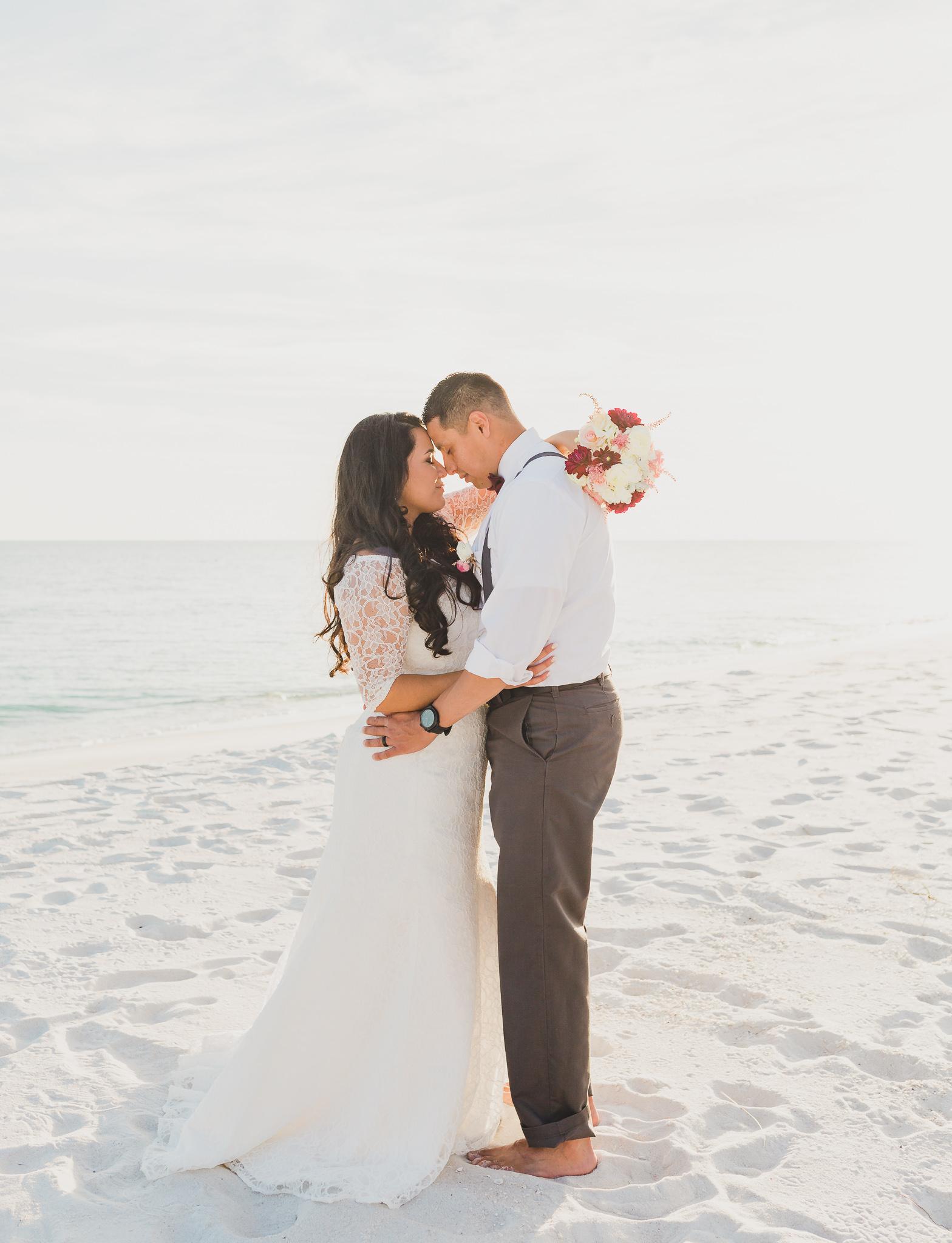 pensacola beach wedding, bride and groom portraits