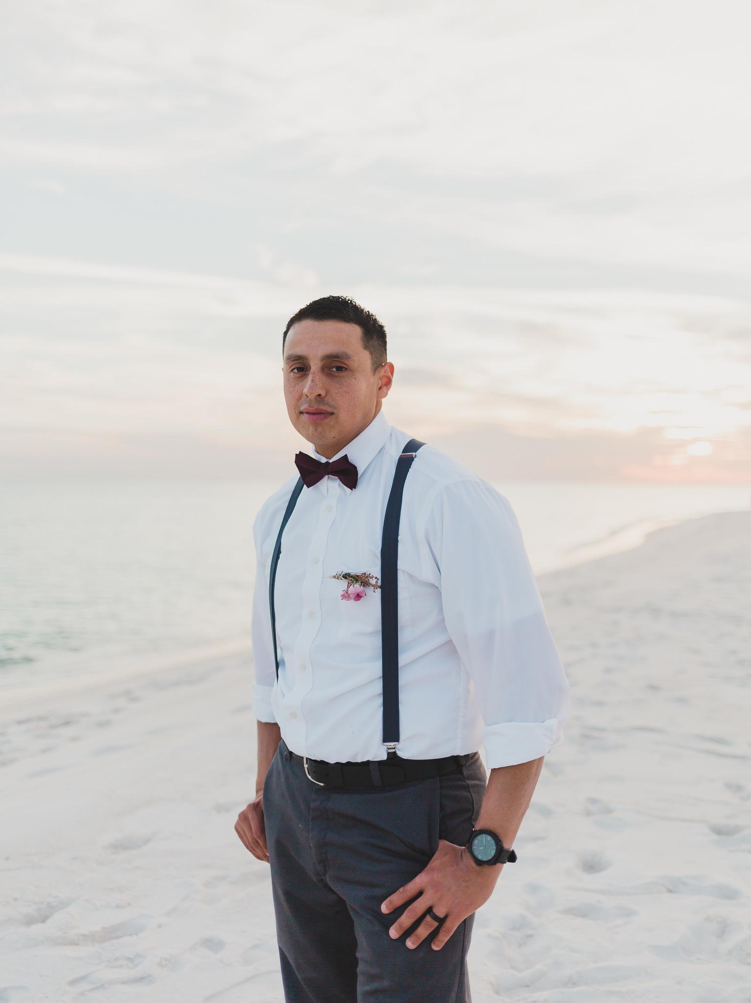 groom portraits on pensacola beach