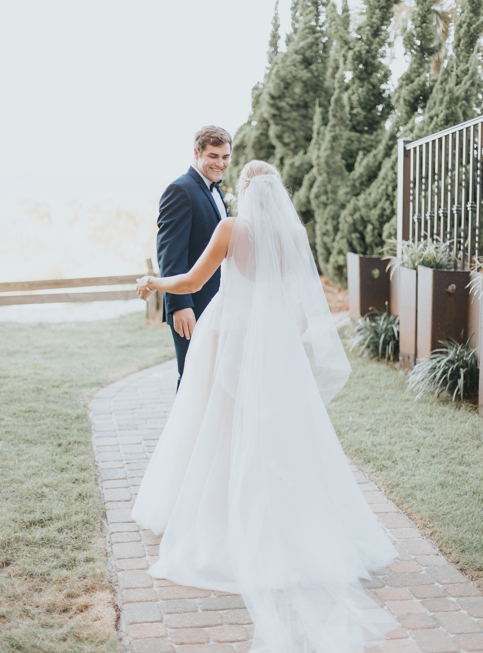 first look before portofino wedding in pensacola beach