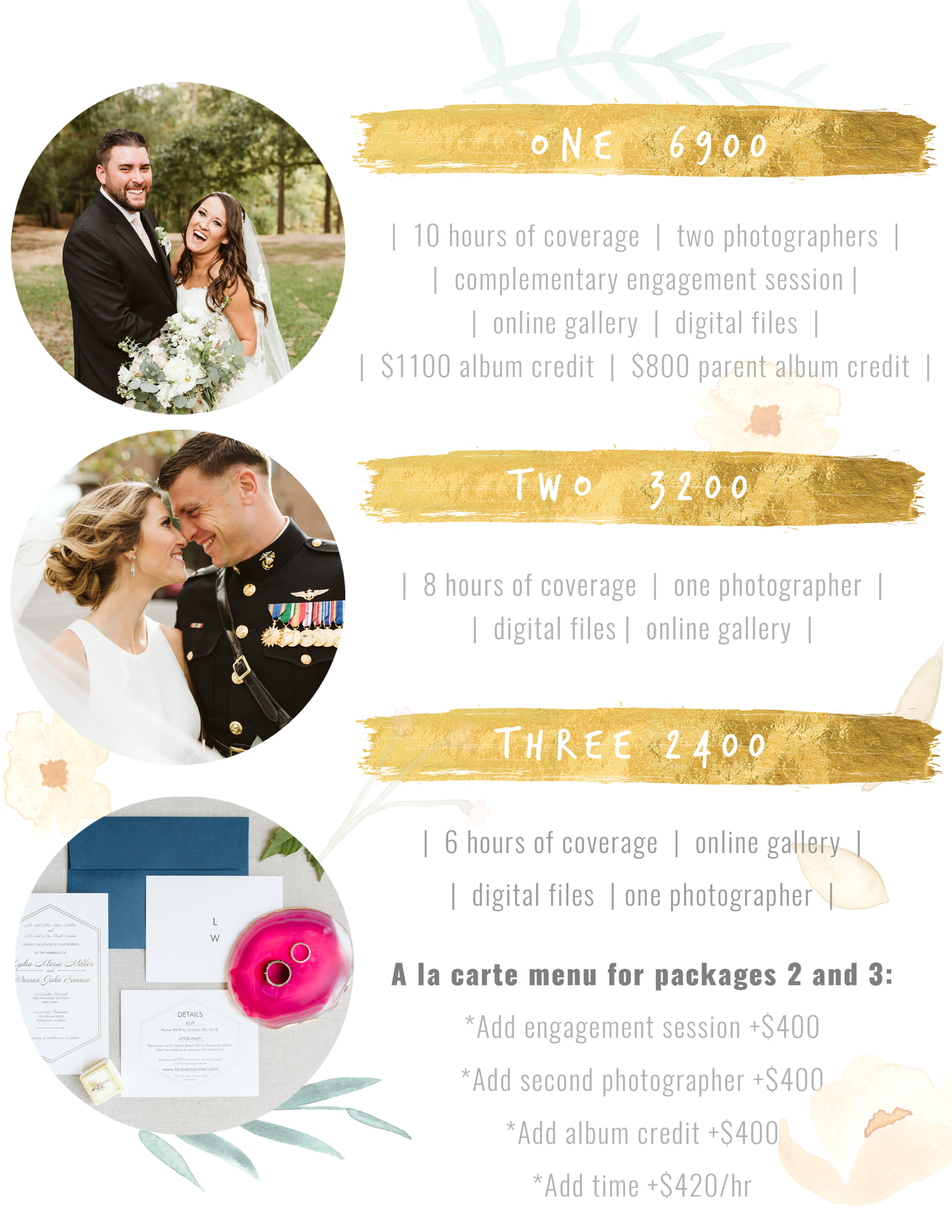 pensacola wedding photography prices