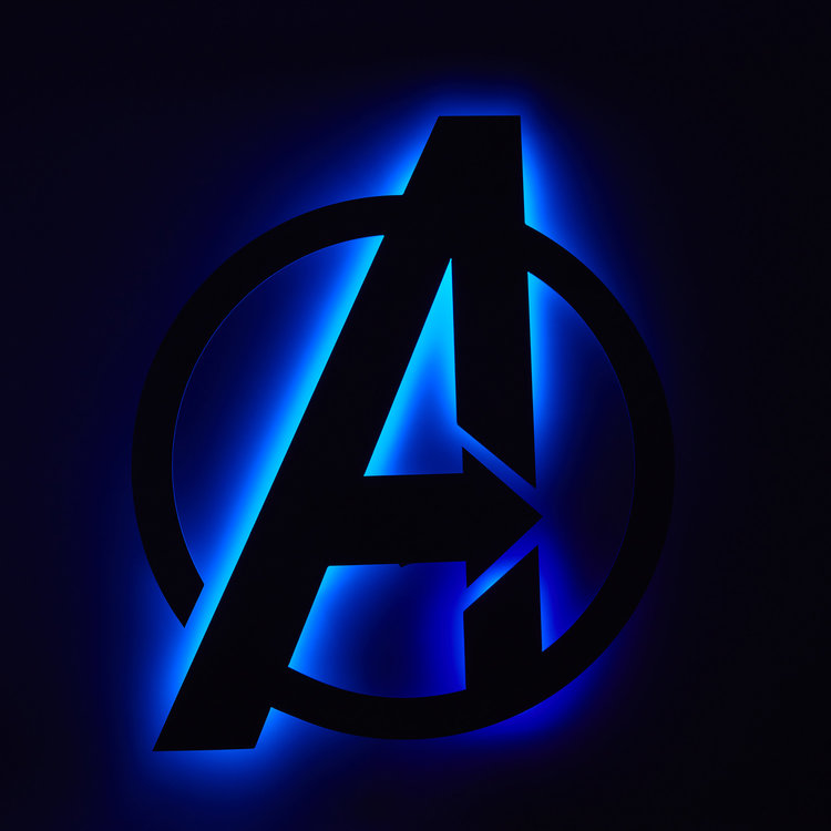 I already used a picture of Thanos in the post credits scene, so here's a nifty little back lit Avengers logo instead.