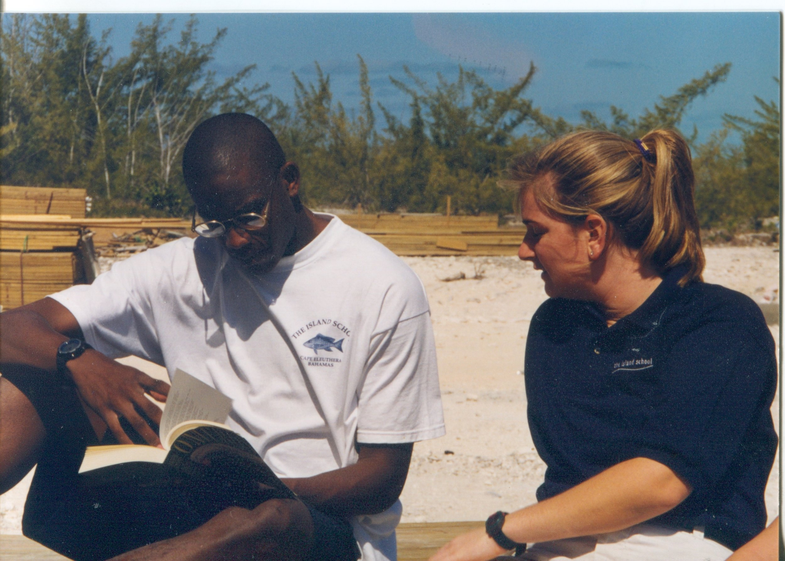Sarah (Seegers) Karlo teaching  Omeros  to Chris Moore - Spring 1999