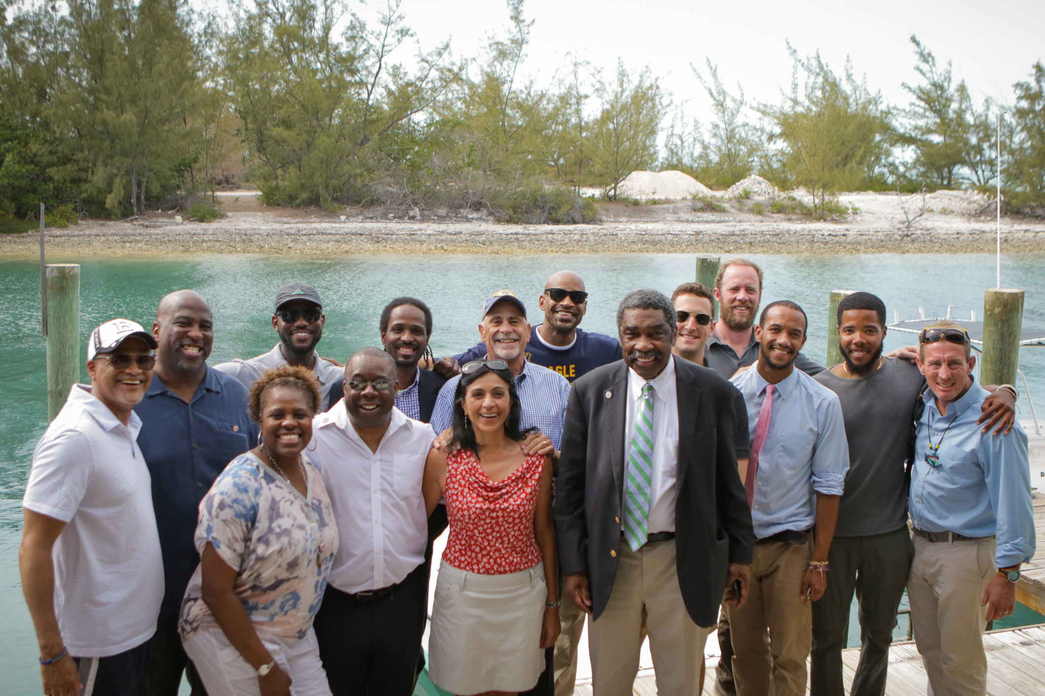 Local and International leaders gathered outside the Sydney C. DeVos Dive Center at The Island School