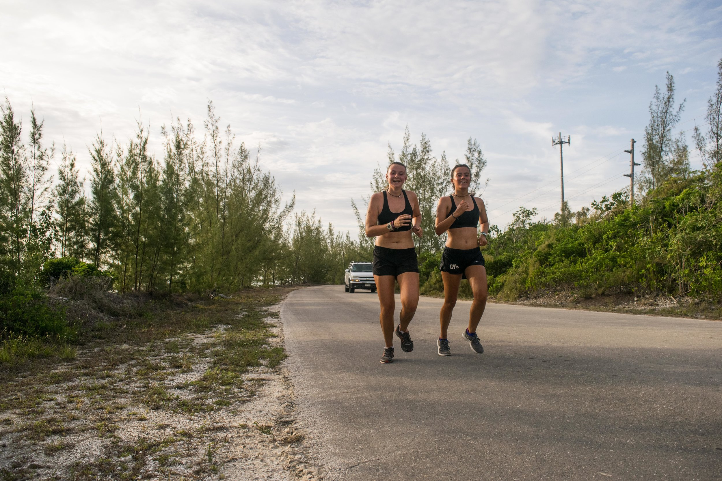 Meg Barnes and Olive Cowan just a few hundred meters from the Half Marathon finish line.