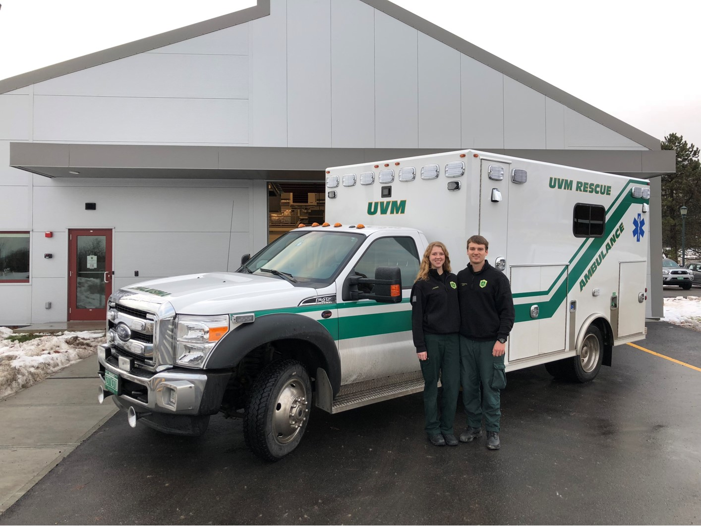 Libby Schwab, F'14, and Kyle Titsworth, S'12, on duty together for UVM Rescue.