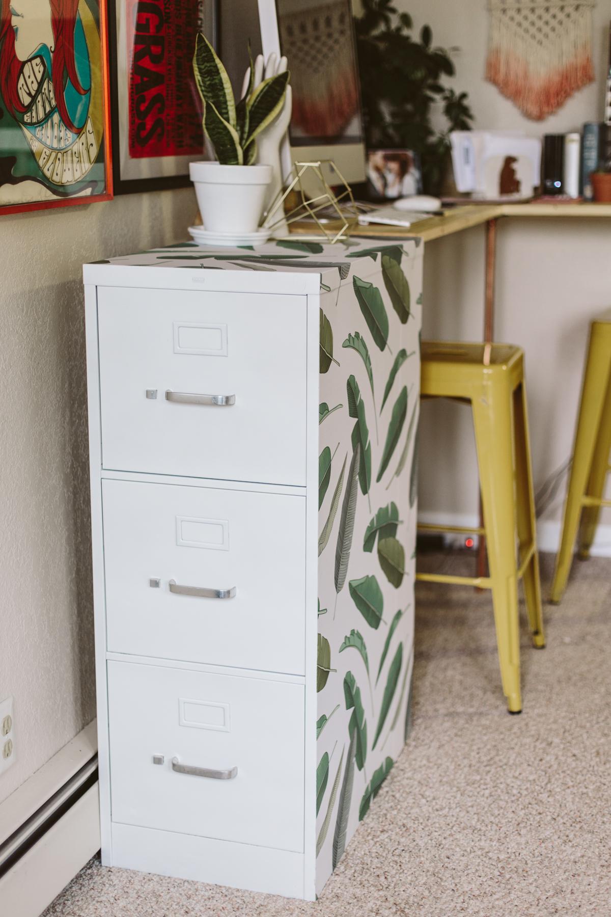 Pretty file cabinet makeover