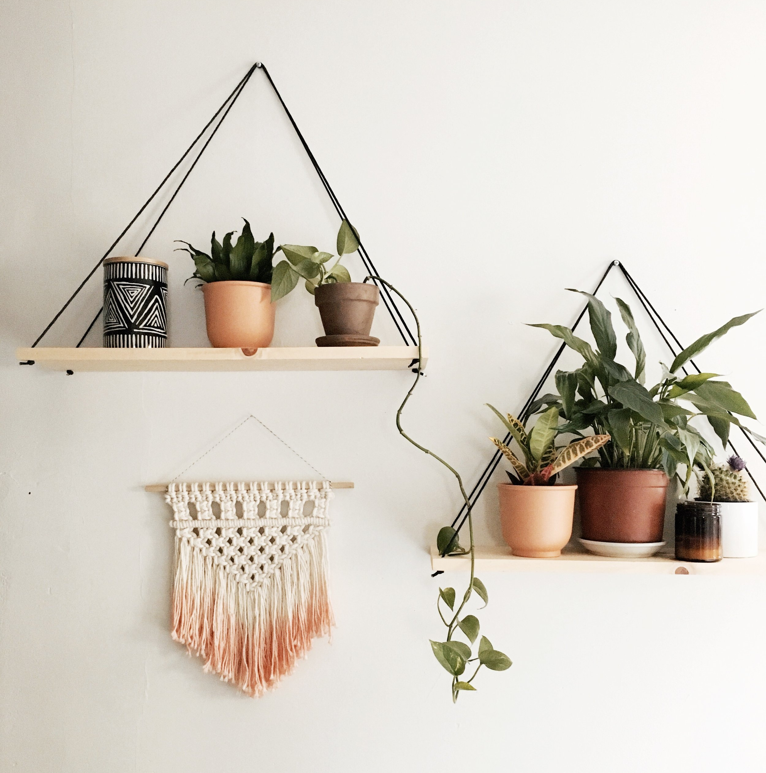 DIY Triangle Hanging Shelves