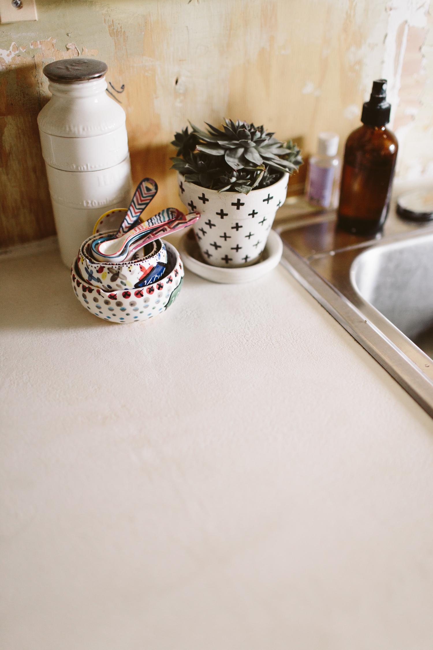 DIY White Concrete Skimcoat Countertops