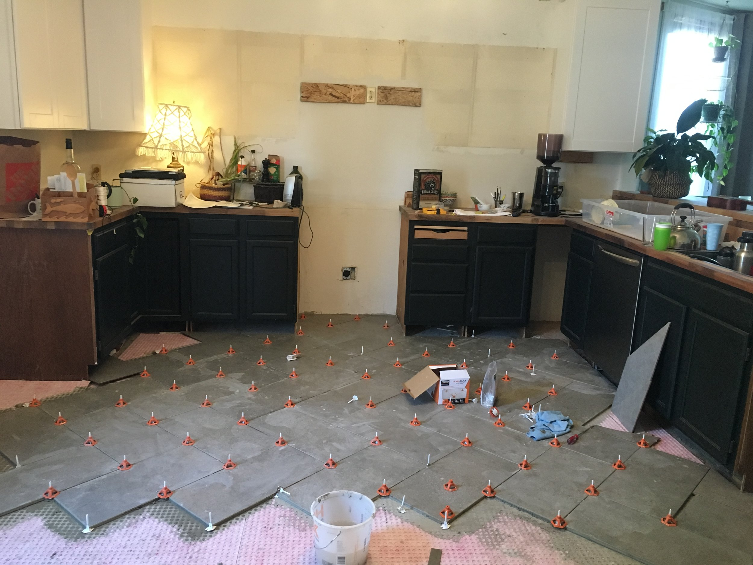 DIY kitchen floor tile