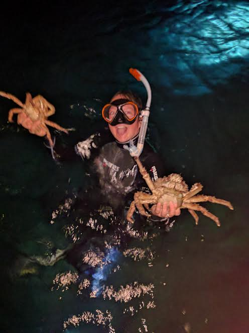 Reef team intern, Daisy Buzzoni, proudly holding the huge spider crabs she caught from the patch reefs using handheld nets. These crabs were transported back to our wet lab in a tank full of saltwater on the boat.