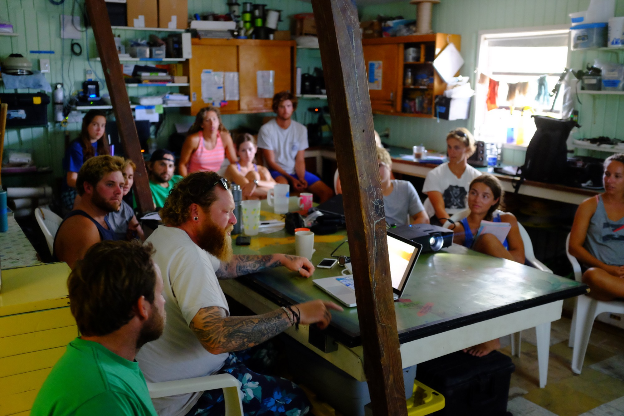 Owen delivering a talk to Shark Lab volunteers and staff