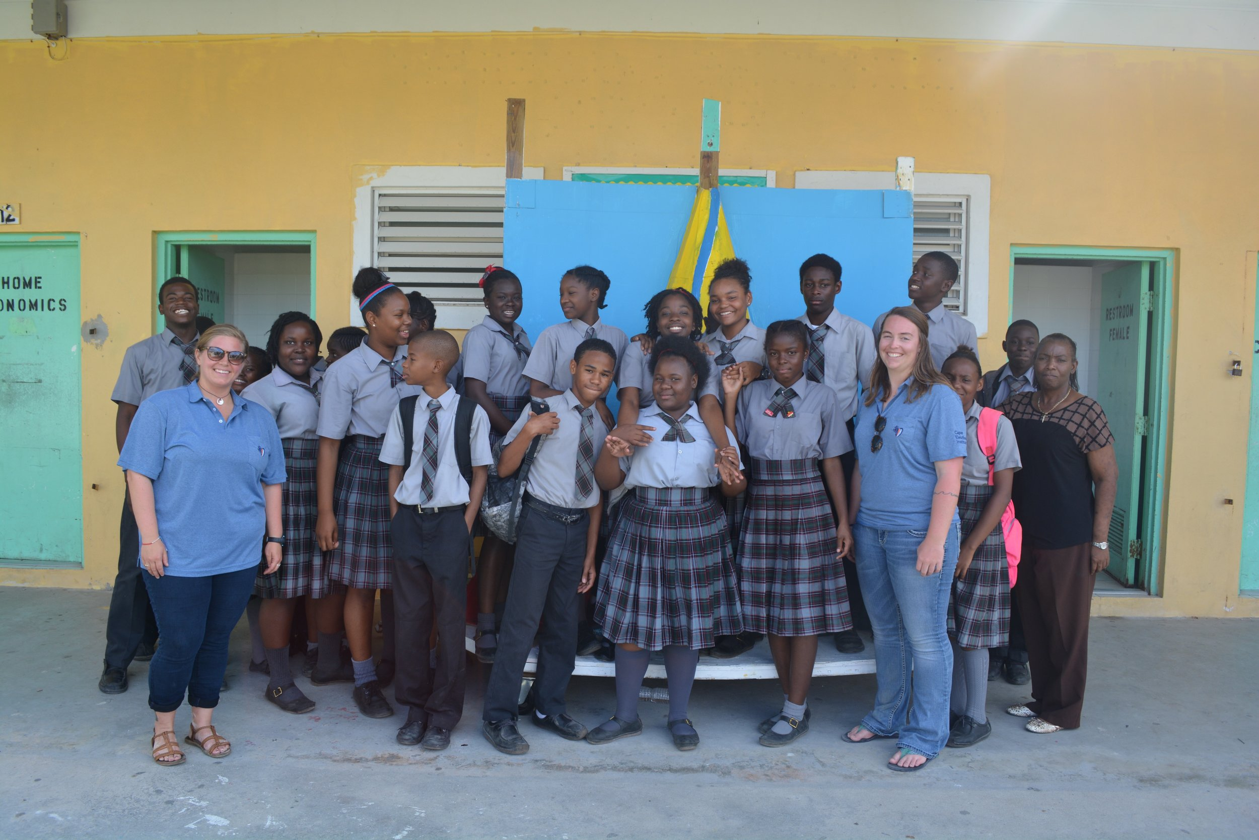 Meagan Gary and Chelsea Begnaud after their presentation at North Eleuthera High School.