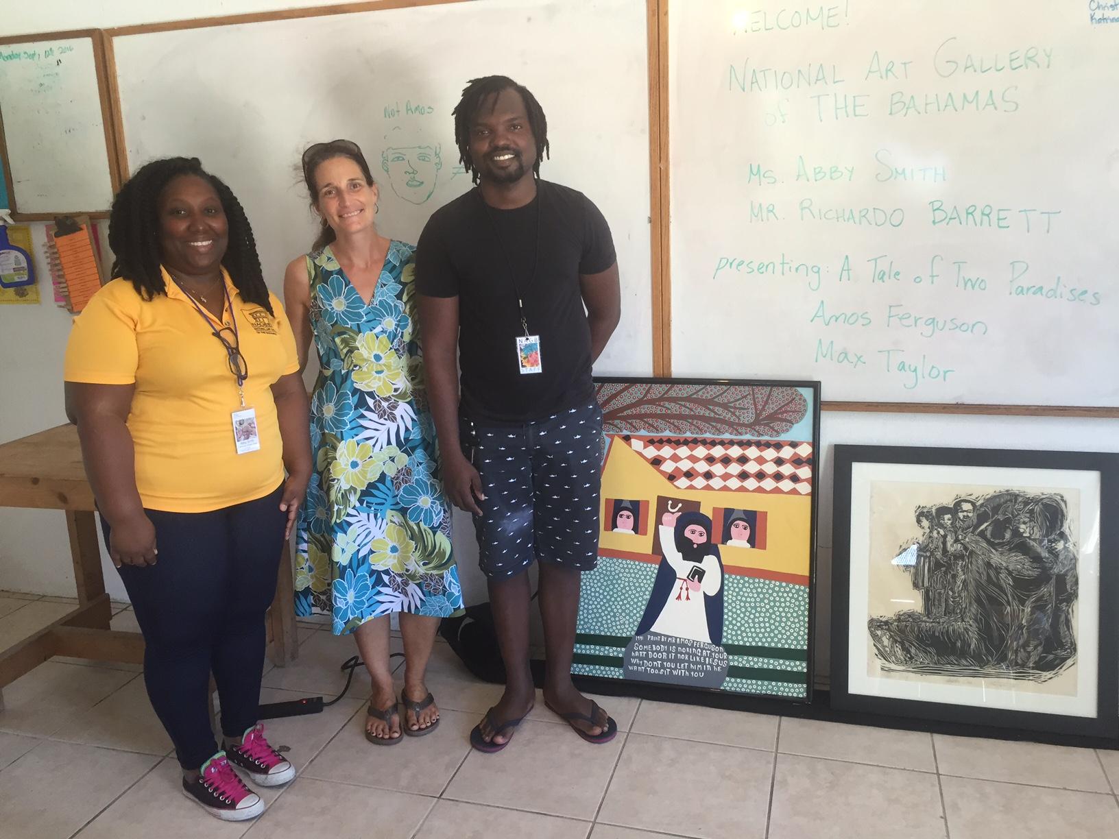 Abby Smith, Lisa Schmitt, and Richardo Barrett celebrate the artwork at DCMS.
