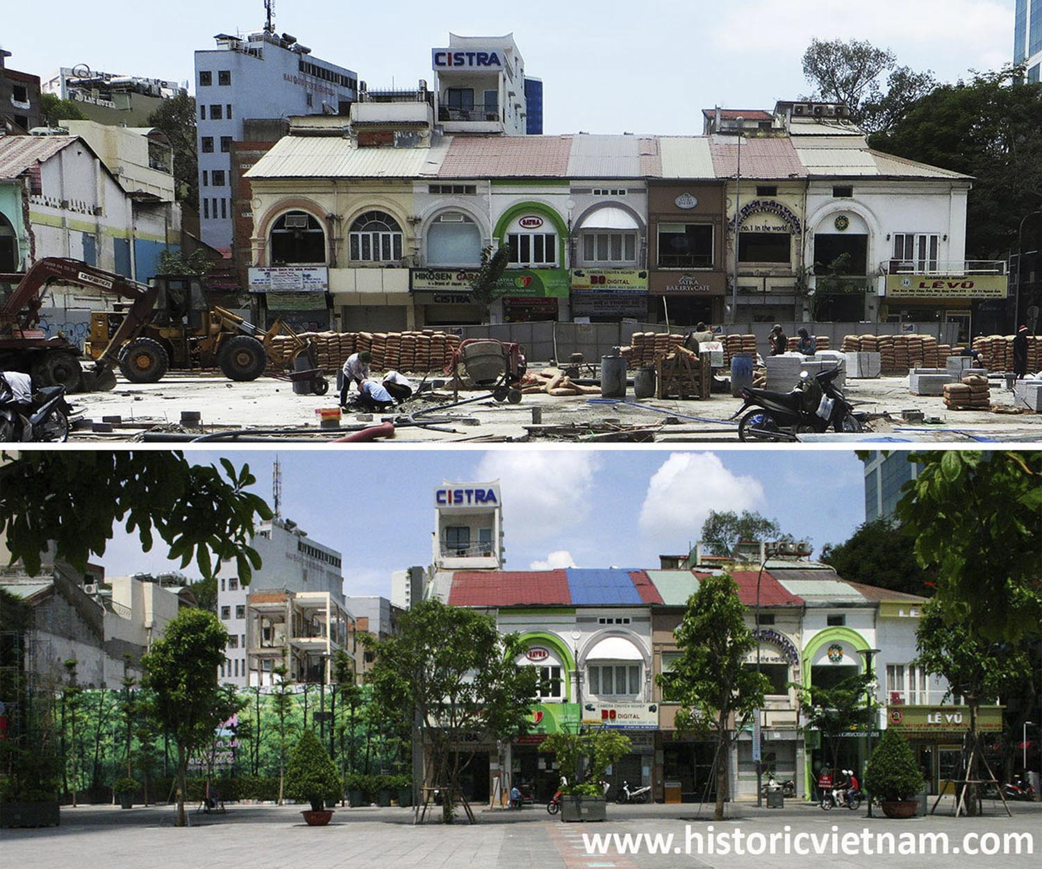 Nos 85-113 Nguyễn Huệ, pictured in March 2015 and in June 2015. To date Nos 89-99 have been demolished.