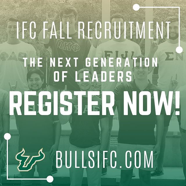 Want to make an impact on campus? Jump start your college experience by signing up for IFC Fraternity Recruitment! Register at bullsifc.com #RushIFC #IFCUSF #GoBulls #USF23