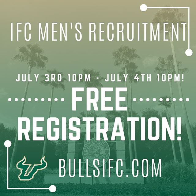 Celebrate your freedom with [FREE] IFC Men's Fraternity Recruitment Registration! July 3rd 10pm - July 4th 10pm  Tag or share with a friend/brother/roommate/incoming USF man who needs to register! Registration fees go up after July 4th. Sign up at bullsifc.com! Link in bio  #IFCUSF #happy4th