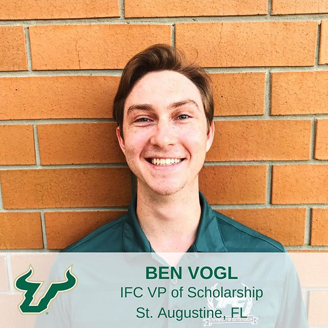 Meet Ben Vogl! Ben is a two-term IFC Executive Officer serving as the VP of Scholarship. He is from St. Augustine, FL and is studying Biomedical Science with minors in Psychology and Public Health. Ben plans on becoming a surgeon and this summer he is working as a medical scribe at Riverside Cardiology. #IFCUSF #MeetTheBoard