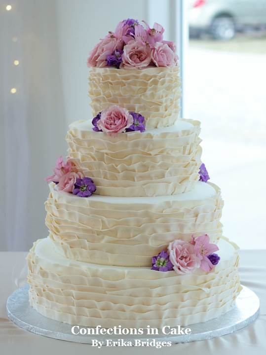White Ruffle Floral Cake by  Confections in Cake