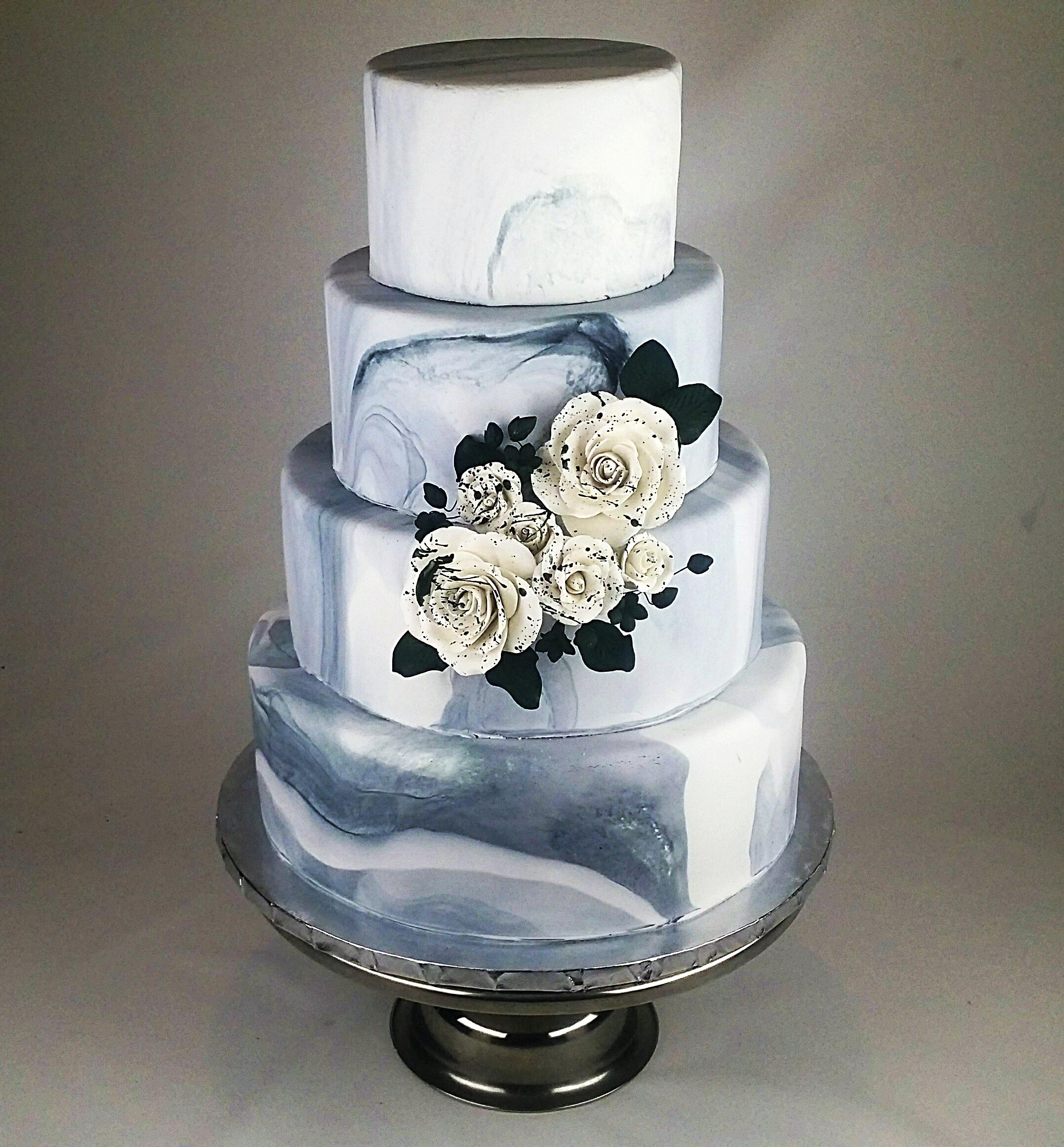 Marbled Fondant Wedding Cake by   Celebrity Cafe & Bakery