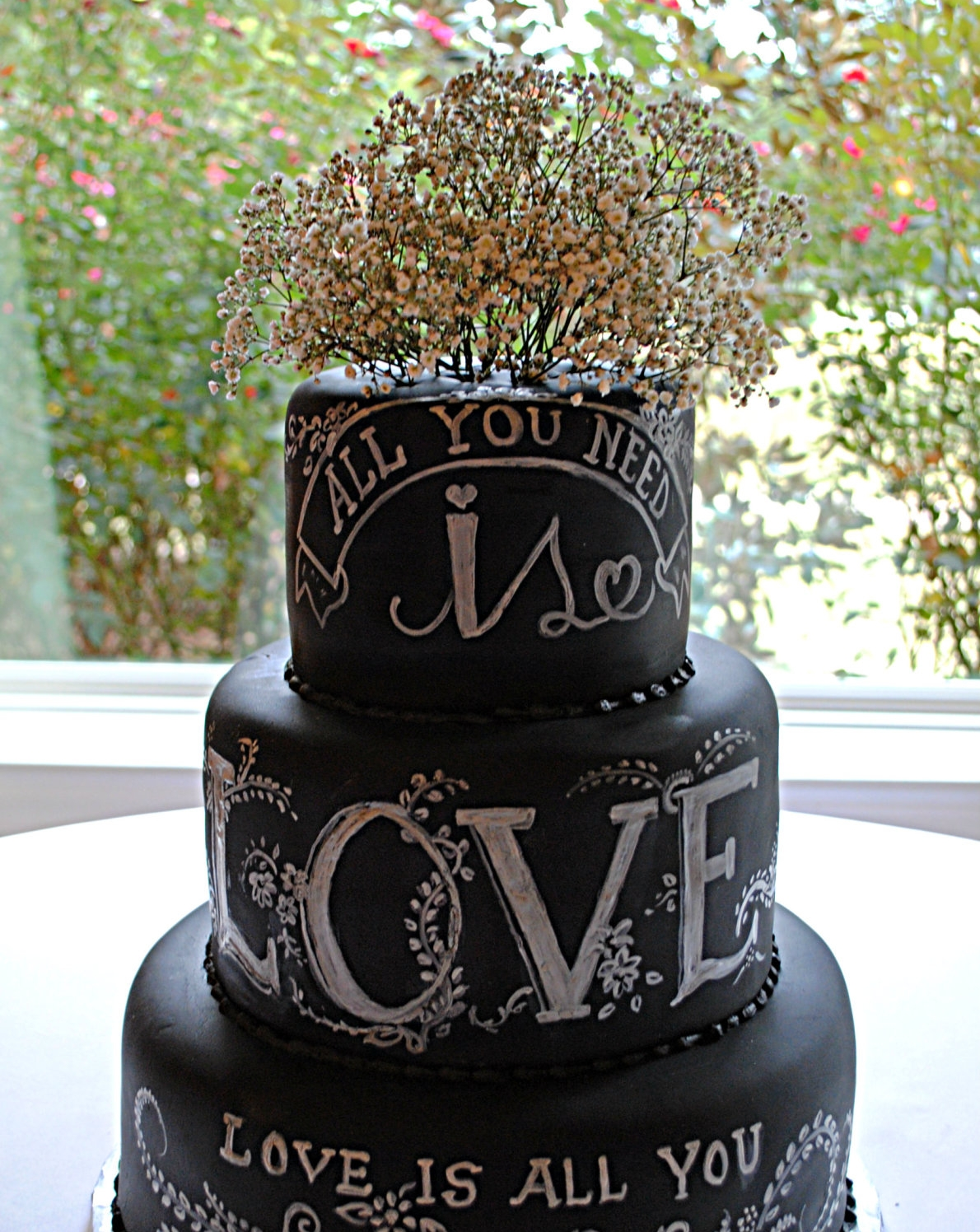 Chalkboard Wedding Cake by  Creative Cakes By Monica