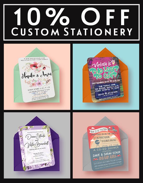 10% Off Custom Stationery Designs