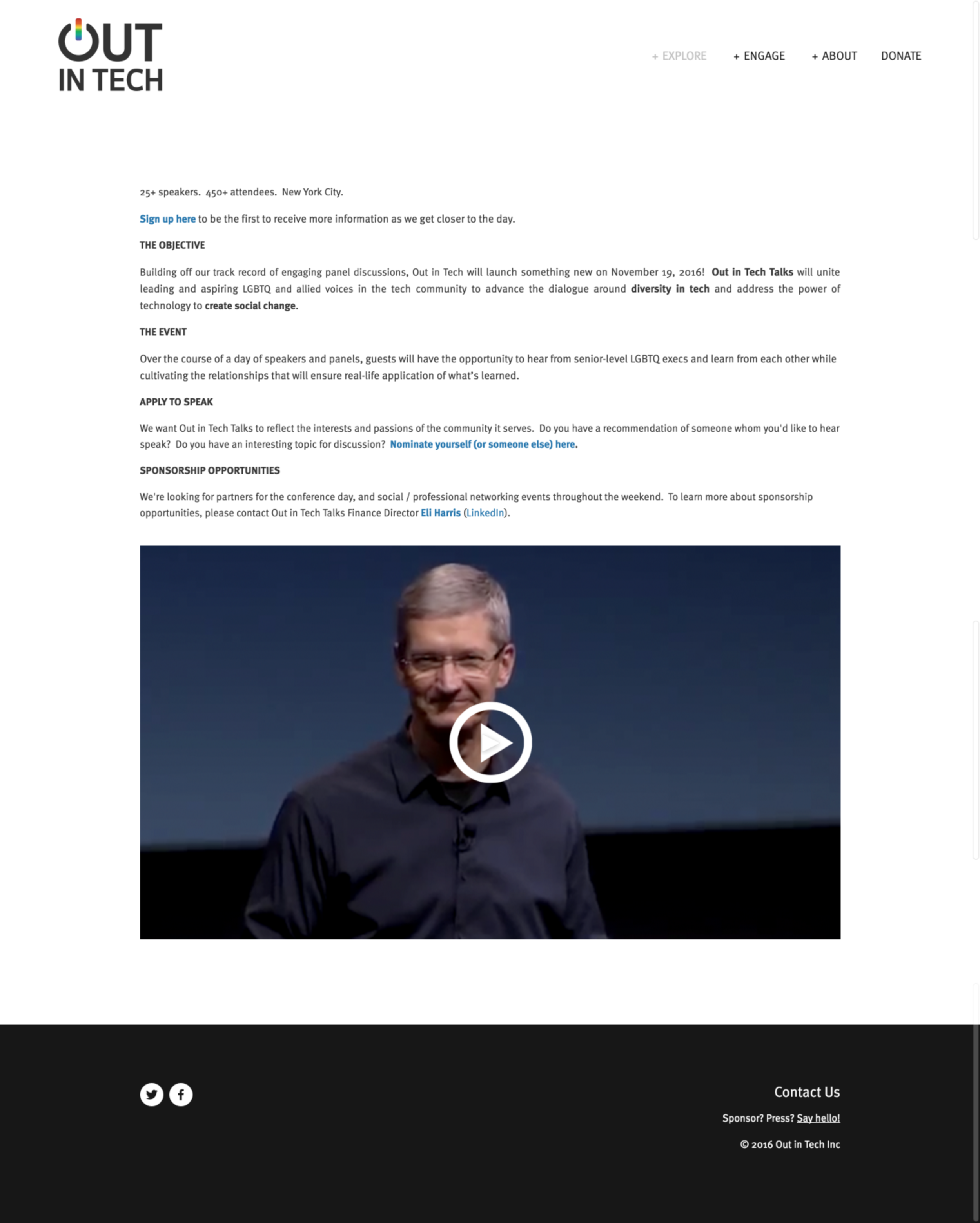 Previous Out in Tech Talks landing page