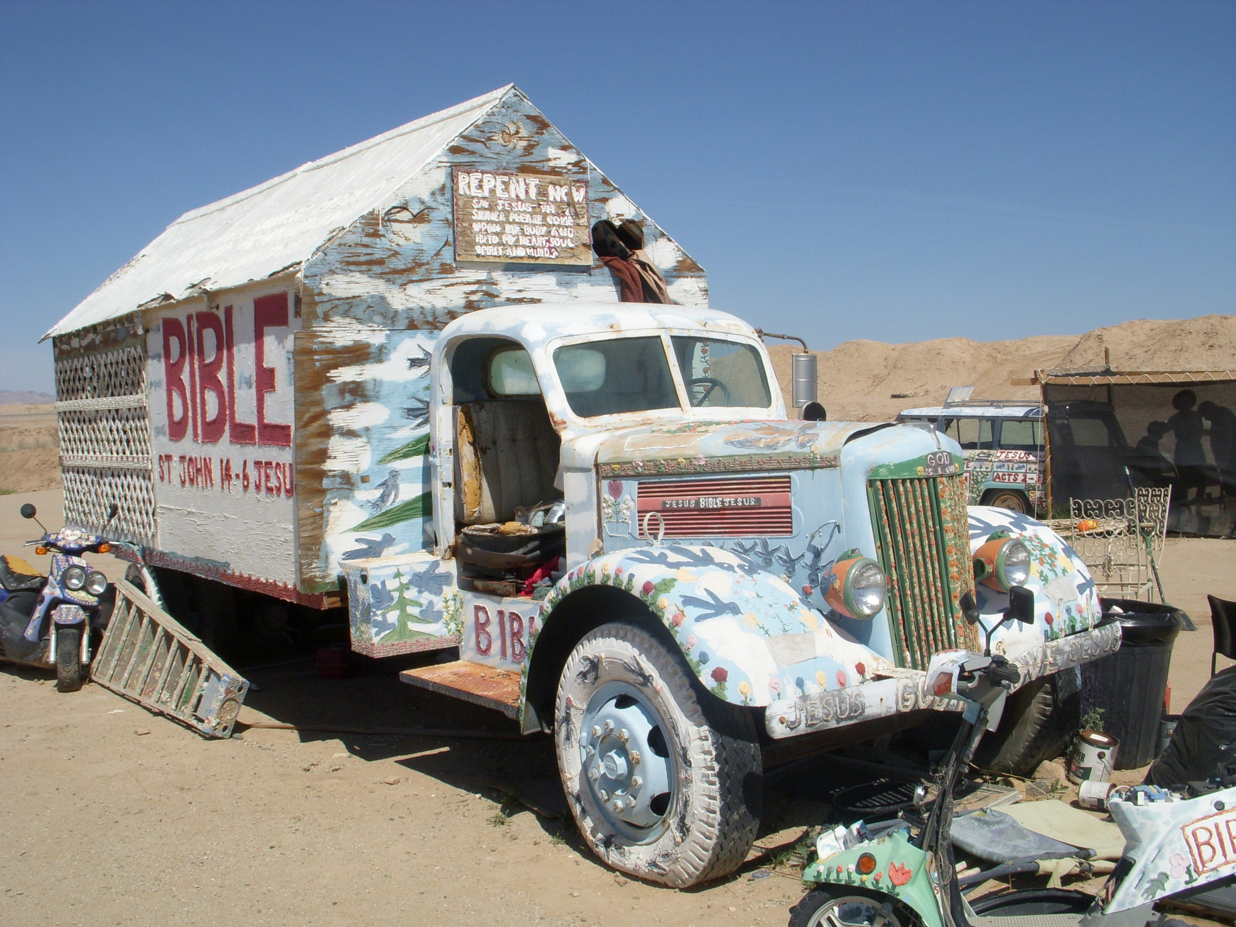 If you want to see Salvation Mountain, drive out to the Salton Sea and take a left.  If you hit Slab City, you've gone too far.