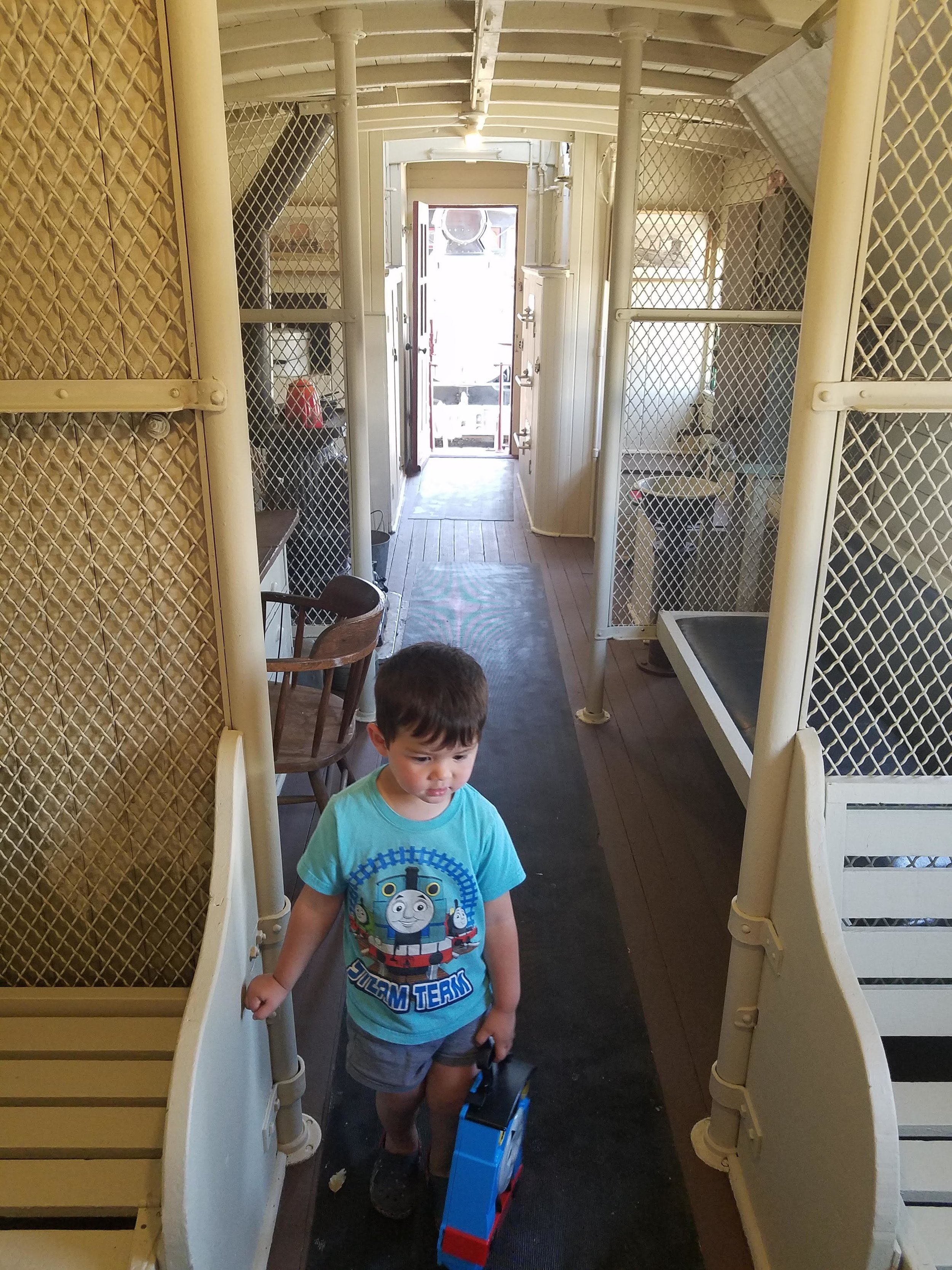 Exploring the caboose.