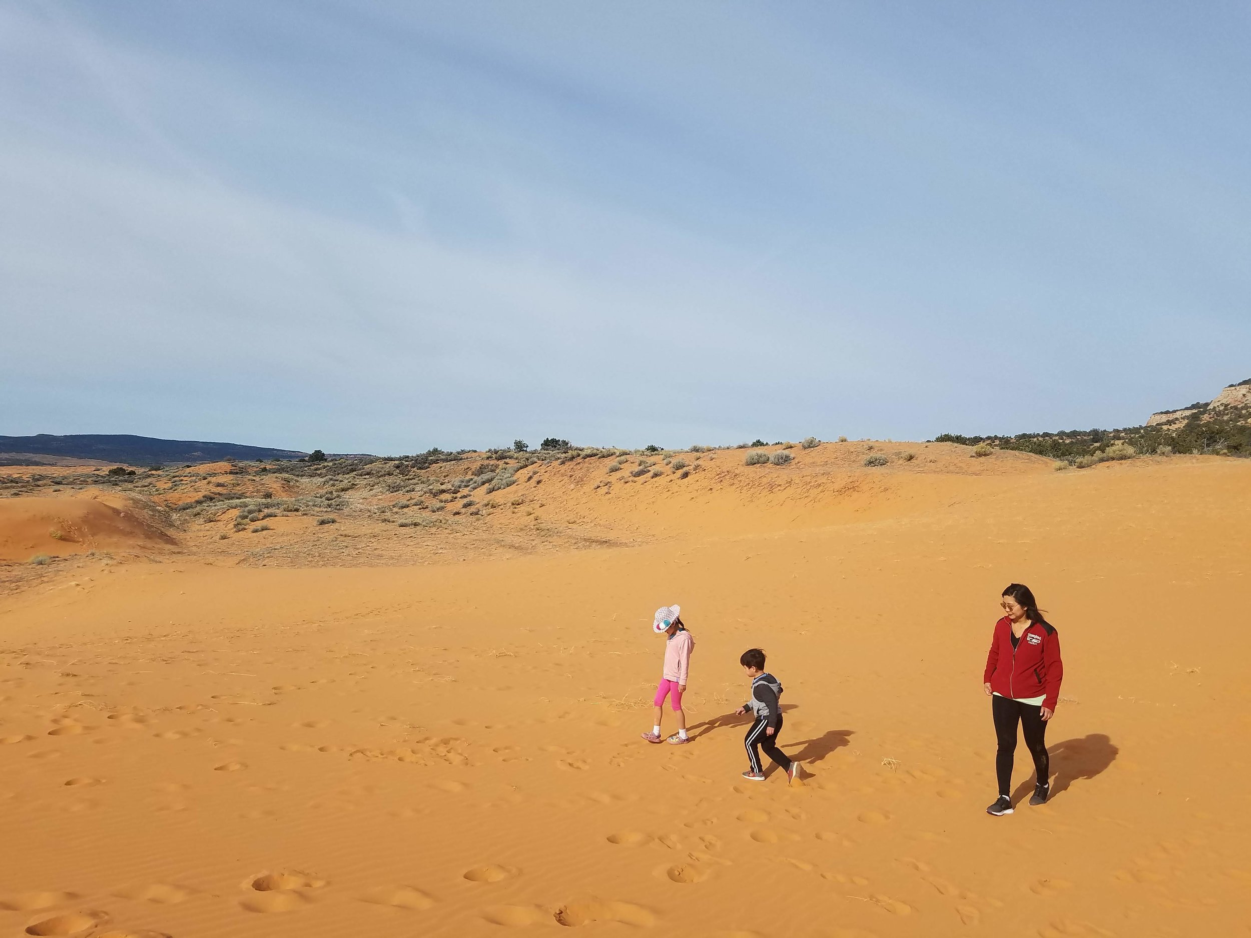 Family at sand dunes