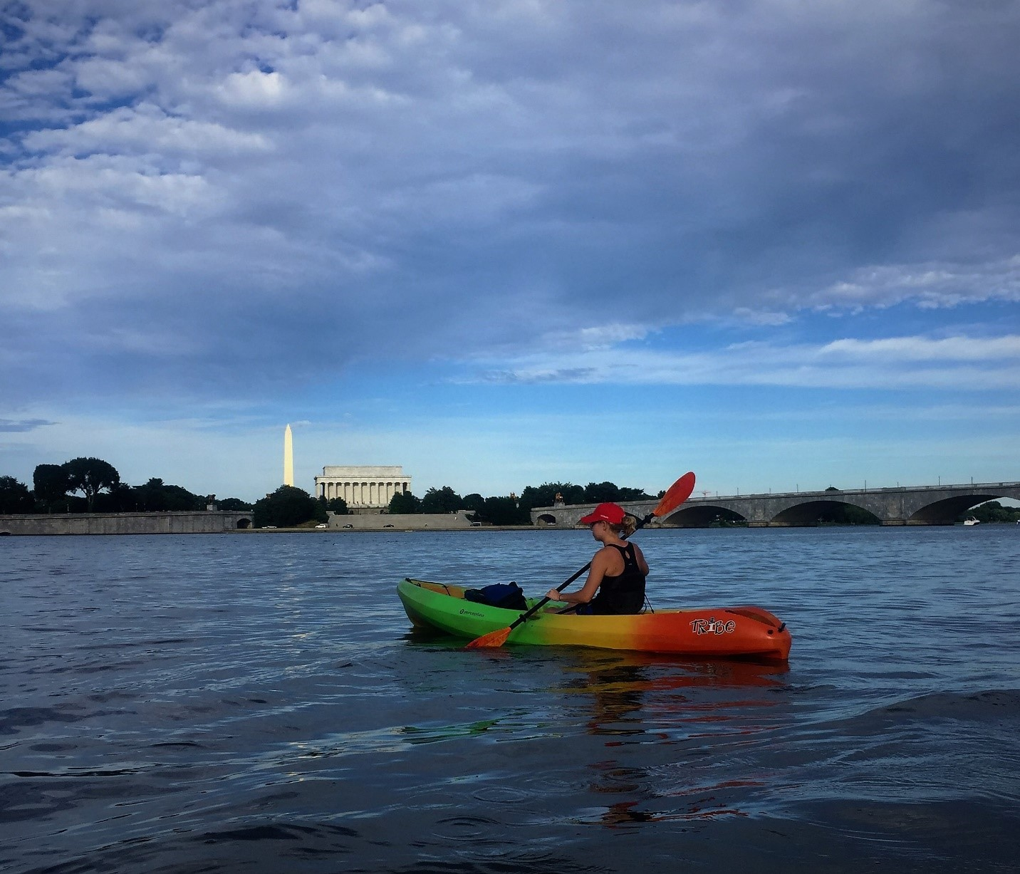 Trying to mix my love of Minnesota lake life with the views of DC – Here I am kayaking down the Potomac River.