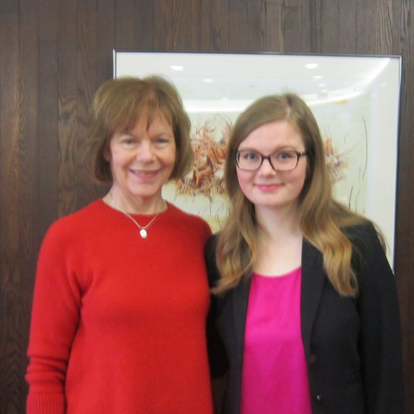 Lt. Governor Tina Smith and Maddy Wegener after a panel on college affordability