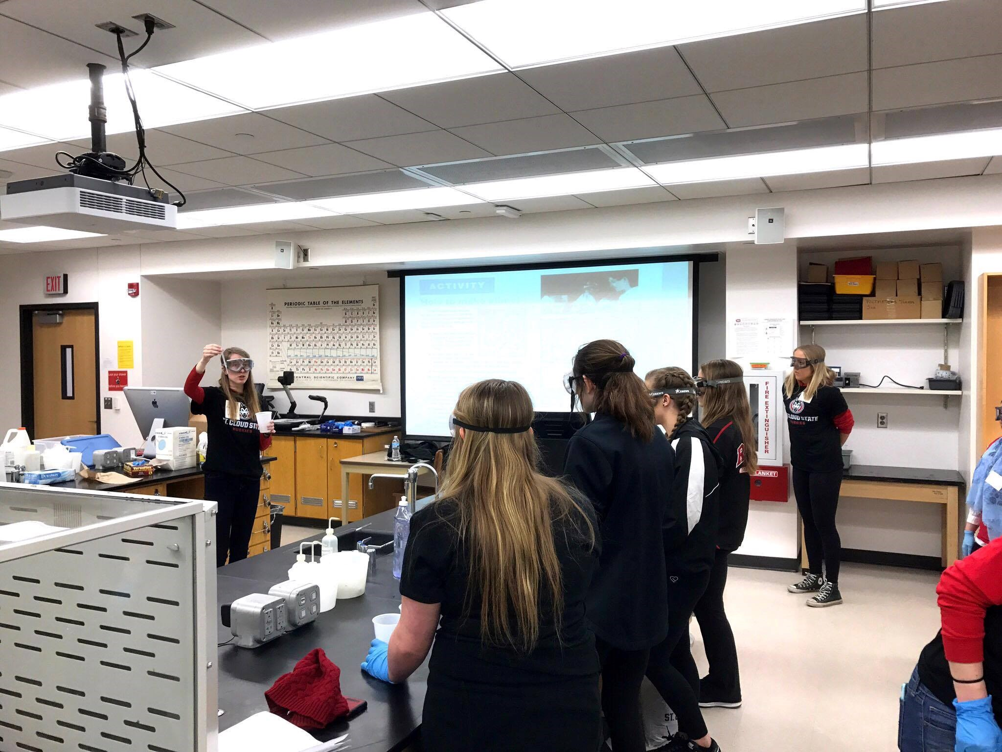 This was taken on March 18th on SCSU campus at the Horizons day camp for high school girls interested in STEM careers. I was teaching them how to use proper technique in the lab!