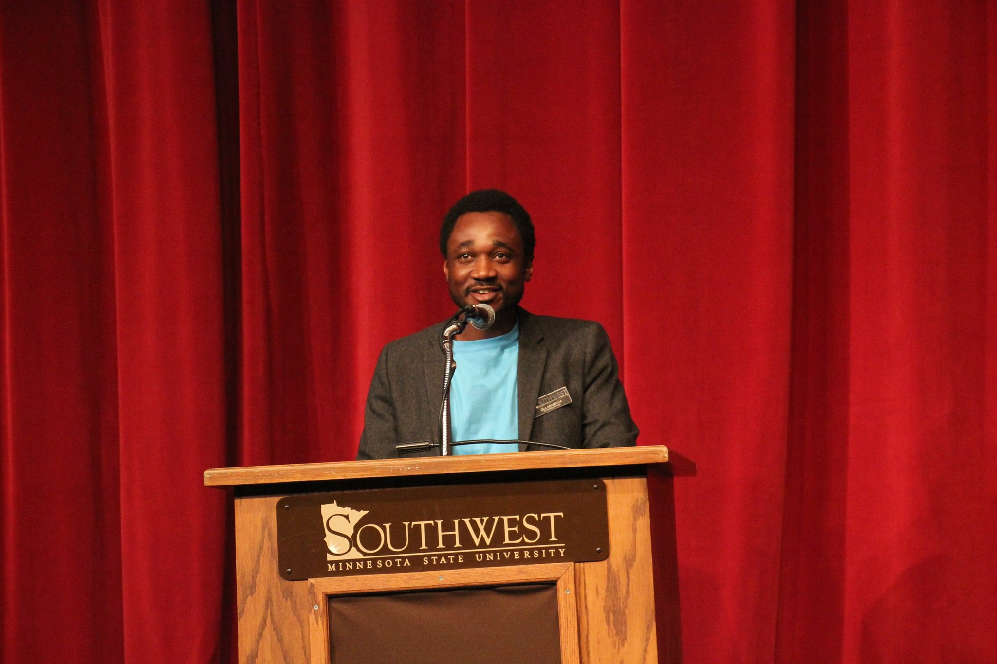 Ola Abimbola, our Campus Organizing Intern, speaking at the event. Photo taken by SMSU Today