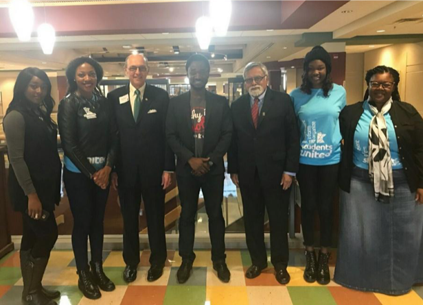 Students United State Chair Faical Rayani and Vice Chair Lexi Byer, and Minnesota State Board of Trustees Chair Michael Vekich, and Chancellor Devinder Malhotra.