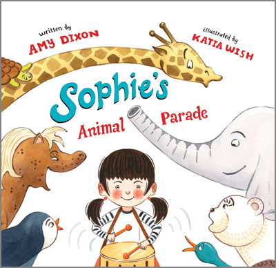 """SOPHIE'S ANIMAL PARADE  Written by  Amy Dixon  Illustrated by Katia Wish Sky Pony Press Release Date: Spring 2015   """"Sophie's Animal Parade"""" has been chosen by the  Children's Book of the Month Club  as a featured selection in June 2015.   Buy books:   Indiebound.org   Amazon.com   Barnesandnoble.com   Booksamillion.com    Reviews:   From School Library Journal  PreS-Gr 1—""""Everything Sophie drew came to life. Mama called it Sophie's imagination. Sophie called it magic."""" So begins this exploration of a child on a quest to find a friend. Sophie starts with drawing a polar bear cub, followed by a duck, and a giraffe. Unfortunately, the animals she creates all have issues in their new environment; the polar bear is too warm, the duck needs a swimming pool, and the ceiling is too low for the giraffe. Sophie adds even more animals to her group (a pony, a turtle, a penguin, and an elephant) in an attempt to address the concerns, but she realizes each of her new additions only bring further problems. When Sophie leads the animals in a parade, she meets a friendly boy, who claims to be an expert lion tamer, perfect for joining Sophie in all the wild fun. Thin lines and fully developed spreads add stylish details to this animal menagerie. VERDICT This story celebrates the power of the imagination and serves as a solid addition to many collections.—Meg Smith, Cumberland County Public Library, Fayetteville, NC   From Publisher's Weekly  Sophie's drawings, whether of cupcakes or polar bear cubs, tend to spring to life. Is it magic or Sophie's imagination at work? Dixon (Marathon Mouse) isn't telling, but it's clear that this sort of power isn't easy to manage. Lonely, Sophie summons one animal after another... but it isn't until she meets a boy who loves animals as much as she does that her desire for friendship is sated. Newcomer Wish's watercolors have an appealing retro cuteness...and for all that Dixon's story revels in imaginary (or magical) fun, the takeaway is that real r"""