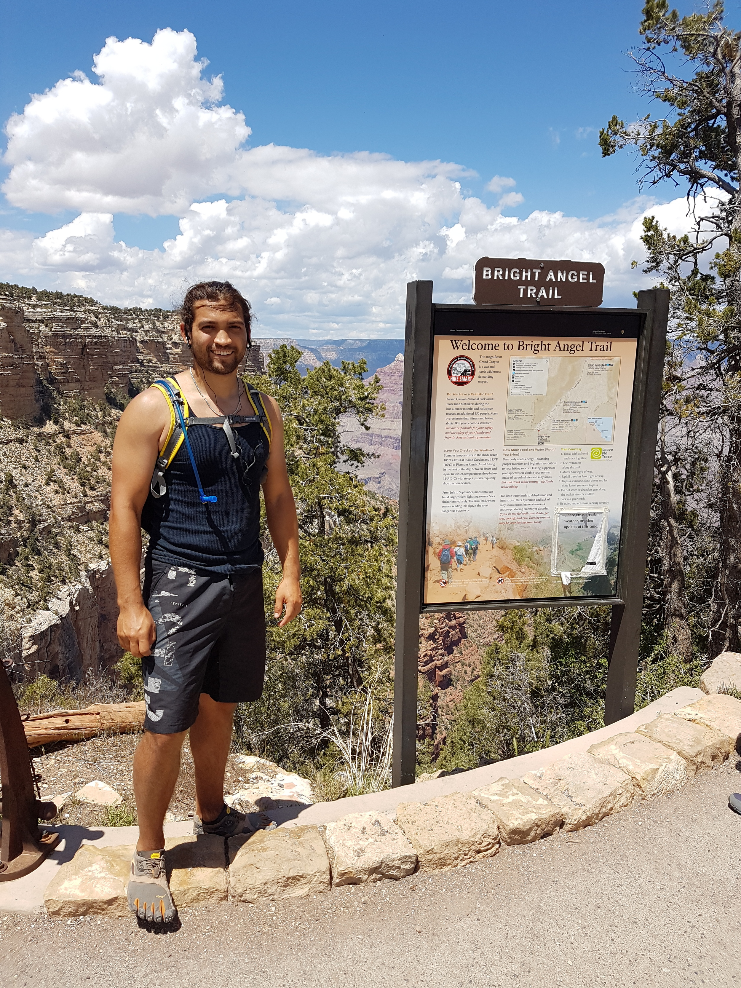 Benjamin decided to push his limits and ran a 16.5 mile loop to the river and back via South Kaibab and Bright Angel. He couldn't walk straight for a week...