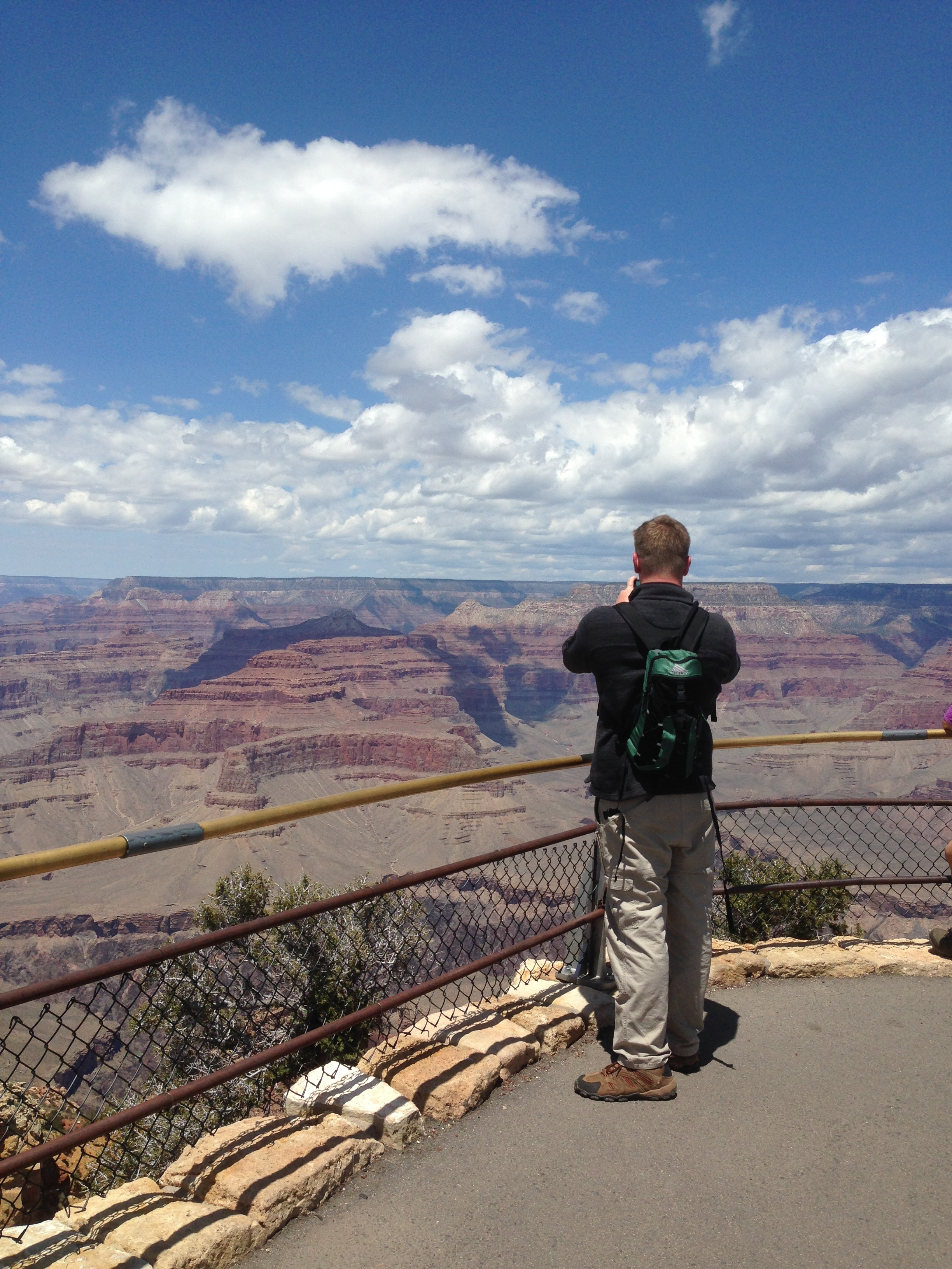 Iain approaching a guarded precipice.
