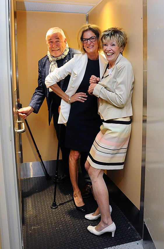 Blues musician Jim Byrnes, West Vancouver MP Pamela Goldsmith-Jones and Kay Meek Arts Centre board chair Betsy Gibbons squeeze into the centre's tiny elevator.