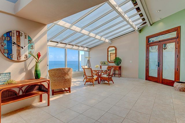 The enclosed atrium in this unit maximizes the approximately 1,750 square feet of living space - add to this nearly 400 square feet of private ocean front lanai - giving a total of over 2,100 square feet of indoor/outdoor living space.  #princeville #oceanview #lanai #indoor #outdoor #private #livingspace #space #live #atrium #penthouse #premier #whalewatch #tallceilings #bright #surf #golf #naturallight #light #sunlight #interiordesign #open #complexes #beachhome #islandstyle #kauai #hawaii #sunset #summer #vacation To find out more about this unit go to luxkauai.com