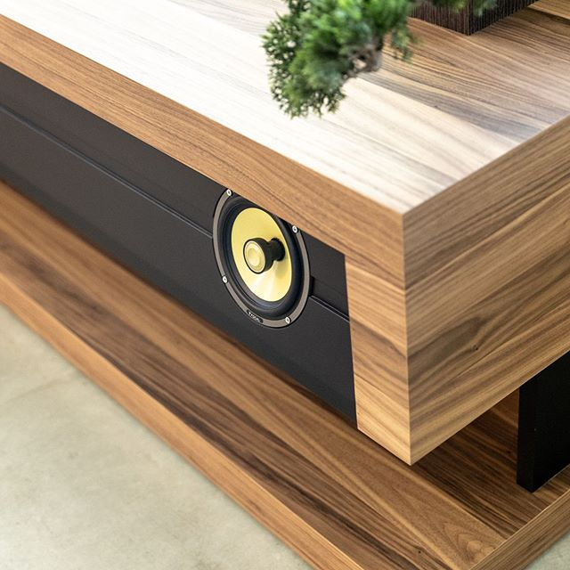 """""""3 years ago I started working on product designs for @slabaudio, a brand that builds high quality modern furniture with integrated hifi audio and technology.  I've always loved high end audio / speakers and wanted to find a way to package that experience in something very aesthetic, something minimal.  Thanks to @works_by_dahlan and @mackenzie_exhibit our first product is ready for prime time.  More details coming soon."""" 📷 @michaelshums"""