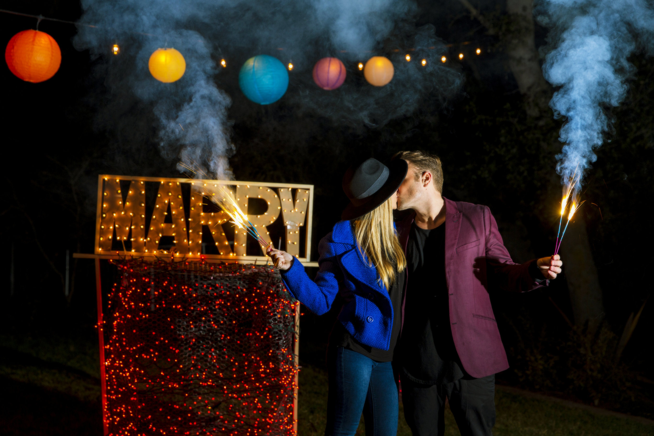 orange county wedding event planner custom sign and sparklers