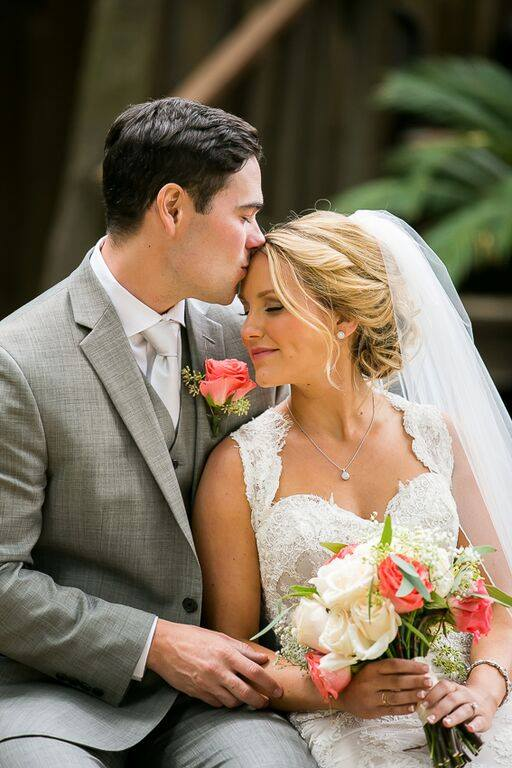 orange county wedding event planner couple forehead kiss