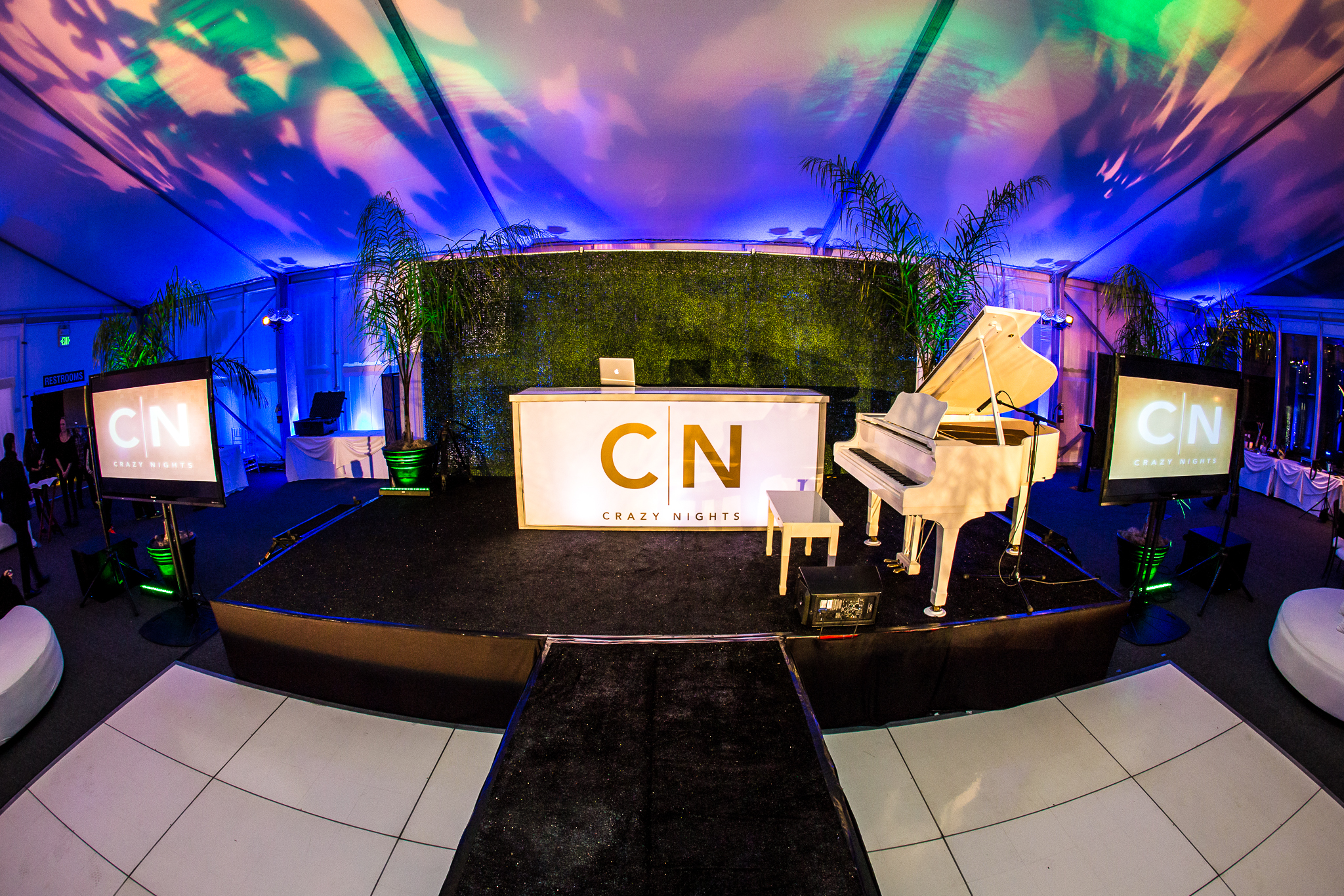 orange county corporate event planner custom stage with white piano