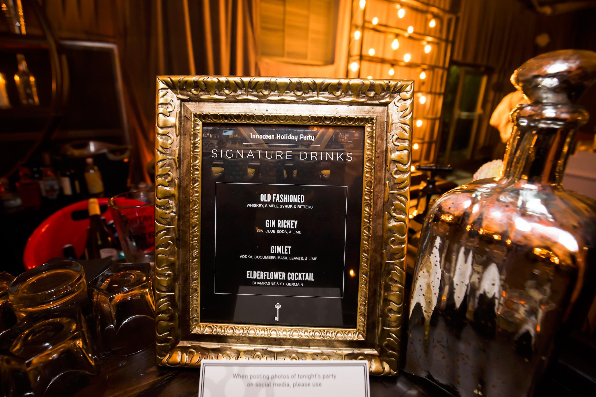 orange county corporate event planner custom drink menu