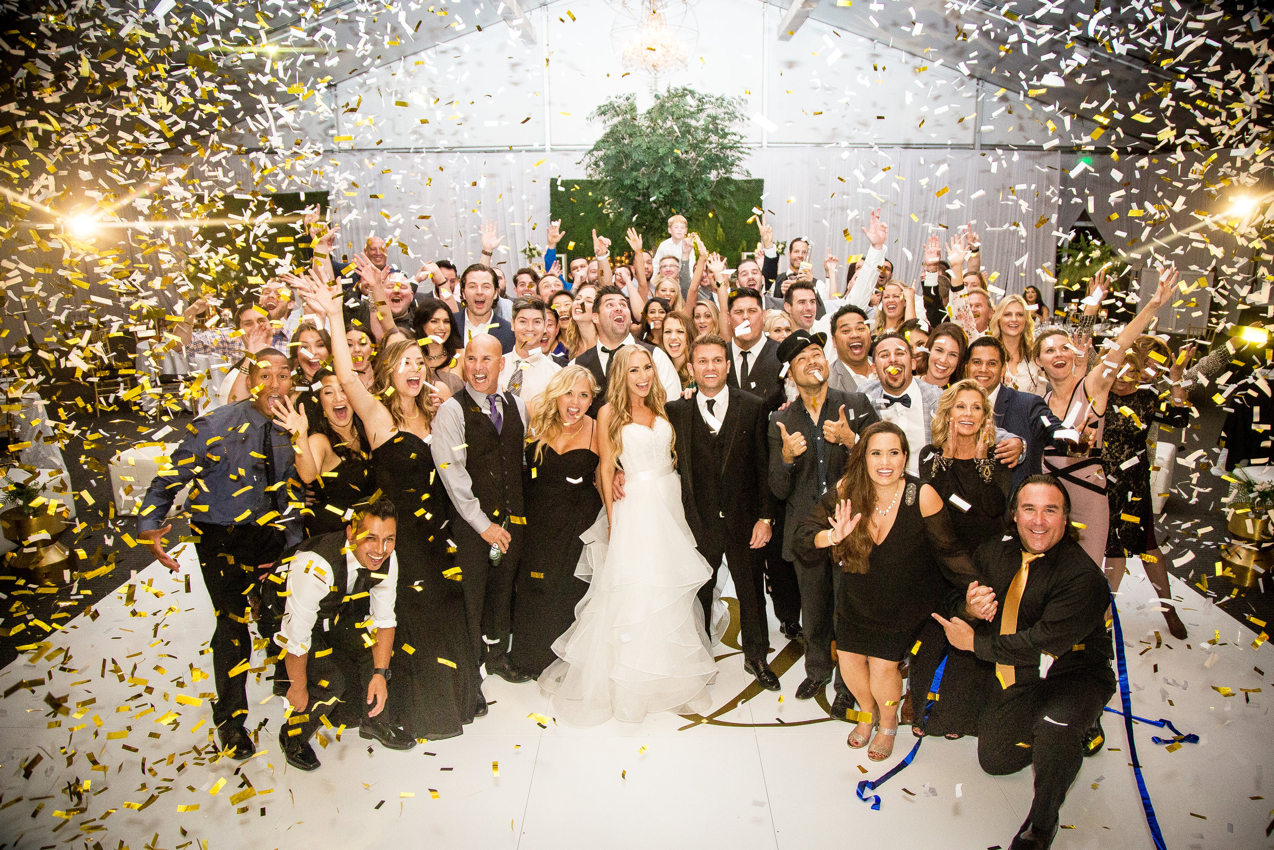 Wedding Group Photo with Confetti